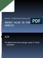 Energy Value in Food Samples