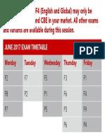 June 2017 Exam Timetable
