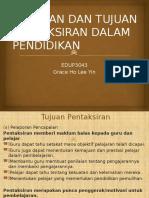 Edup3063 Peranan Dan Tujuan Pentaksiran Dalam Pendidikan