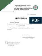 Certification of Enrolment