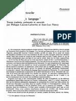 Nietzsche Rhetorique Et Langage