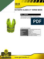 Chaleco Reflectante Clase 2 2- Verde Neon