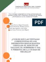 Las Ventajas Competitivas en Los Restaurantes de Comida Criolla de La Libertad