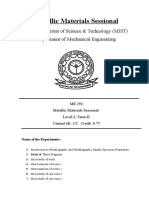 ME 292 - Metallic Materials Sessional