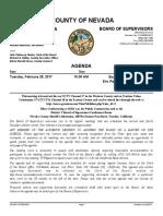 February 28 Nevada County BOS Agenda