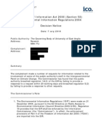 Information Commissoner's decision on one of the climate data FoI requests
