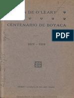 1919 La hija de O'Leary en el centenario de Boyacá