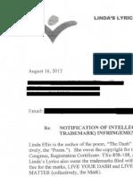 Linda Ellis Copyright - Extortion Letter