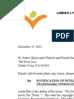 Linda Ellis Copyright - Extortion Letter -  St. John's Episcopal Church and Parish Day School.pdf