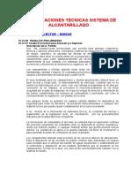Especificaciones Tecnicas Sistema de Alcantarillado