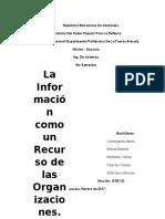 La Informacion Como Recurso en La Organizacion Analisis de Sistemas