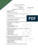 Mental Status Examination Checklist