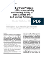 Effect of Pulp Pressure on the Micropermeability and Sealing Ability of Etch & Rinse and Self-etching Adhesives