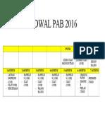 Jadwal Pab 2016