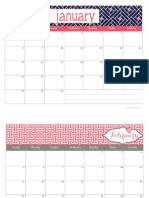 2017 Calendar in Coral Navy by Blooming Homestead