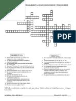 actividad ludica crucigrama de retroalimentacion de monomios y polinomios