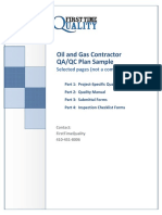 Oil and Gas Quality Control Plan Sample