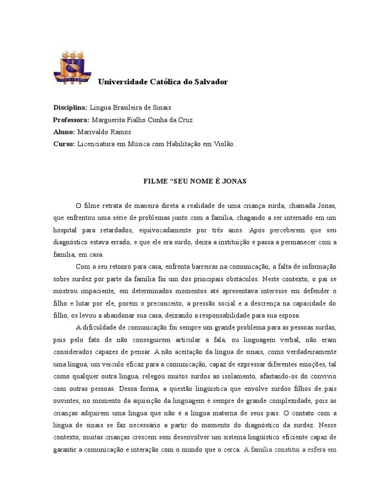 Filme Seu Nome É Jonas regarding texto dissertativo sobre o filme jonas