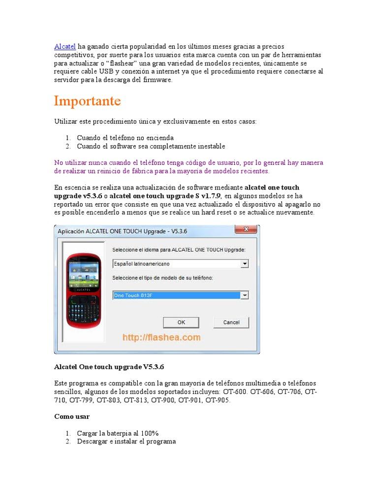 Instrucciones Del Alcatel One Touch Upgrade V5 3 6
