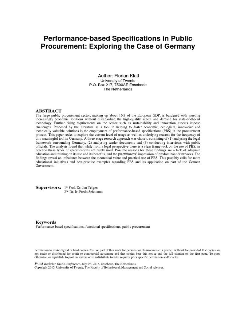 Performance based specifications in public procurementpdf performance based specifications in public procurementpdf specification technical standard procurement altavistaventures Gallery