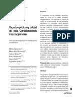 Espacios Públicos y Calidad de Vida, Consideraciones Interdisciplinarias