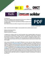 2017-02-24 Lettre conjointe en vue du dixième Conseil d'association UE-Algérie