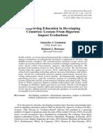 Ganimian & Murnane (2016) Improving Education in Developing Countries