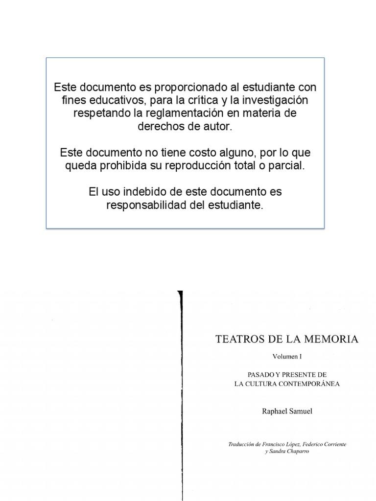 Raphael Samuel Teatros de La Memoria 1871a9ff884