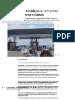 Brasil Autorizó Residencia Temporal..
