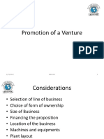 Promotion of a Venture