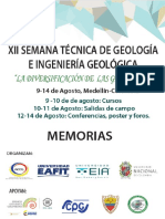 Memorias XII Semana Técnica de La Geológía e Ingeniería Geológica, Medellín, Colombia (2016)
