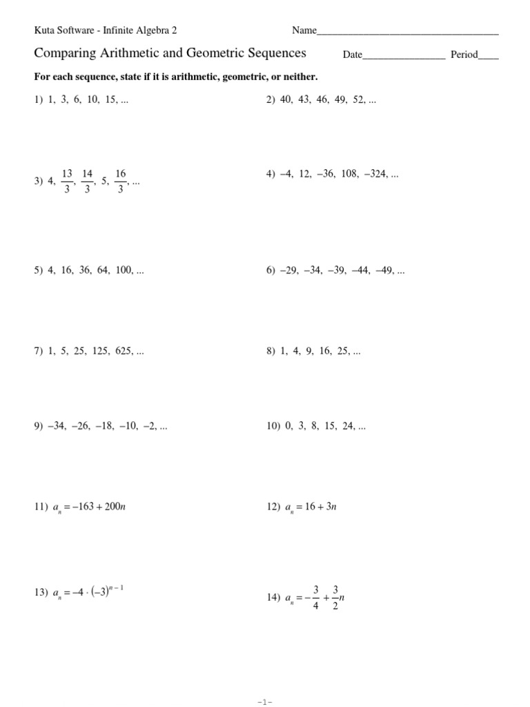 comparing arithmetic and geometric sequences - Arithmetic And Geometric Sequences Worksheet