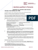Guidance for Dentists Qualified in Romania