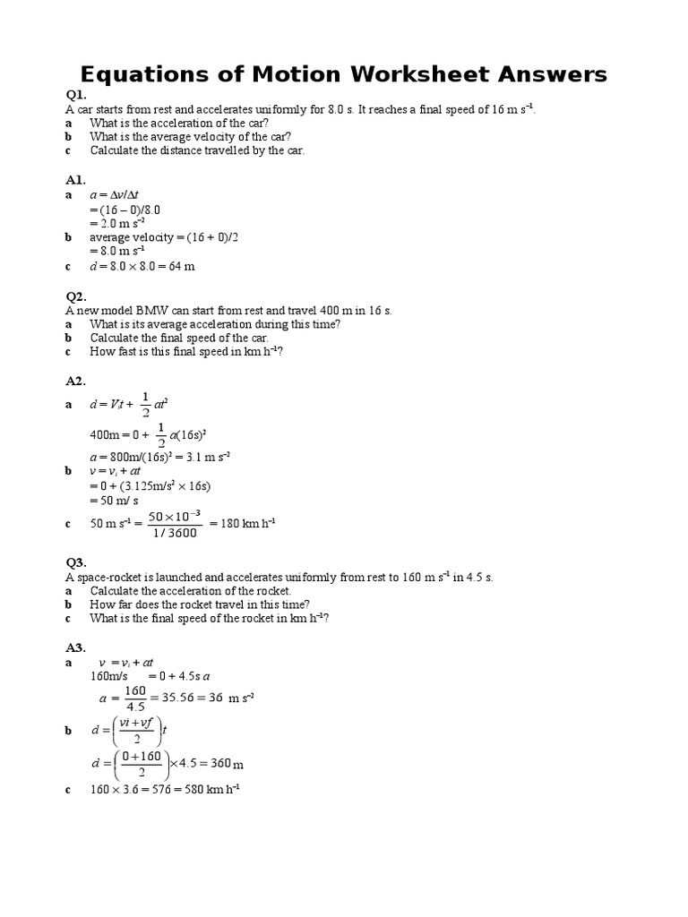worksheet Calculating Acceleration Worksheet equations of motion worksheet with answers hw11 doc diving acceleration