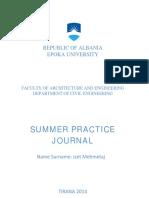 CE Summer Practice- Izet Mehmetaj 2014