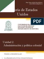 Unidad 2 Administración y Política Colonial - Historia de EEUU UdeA
