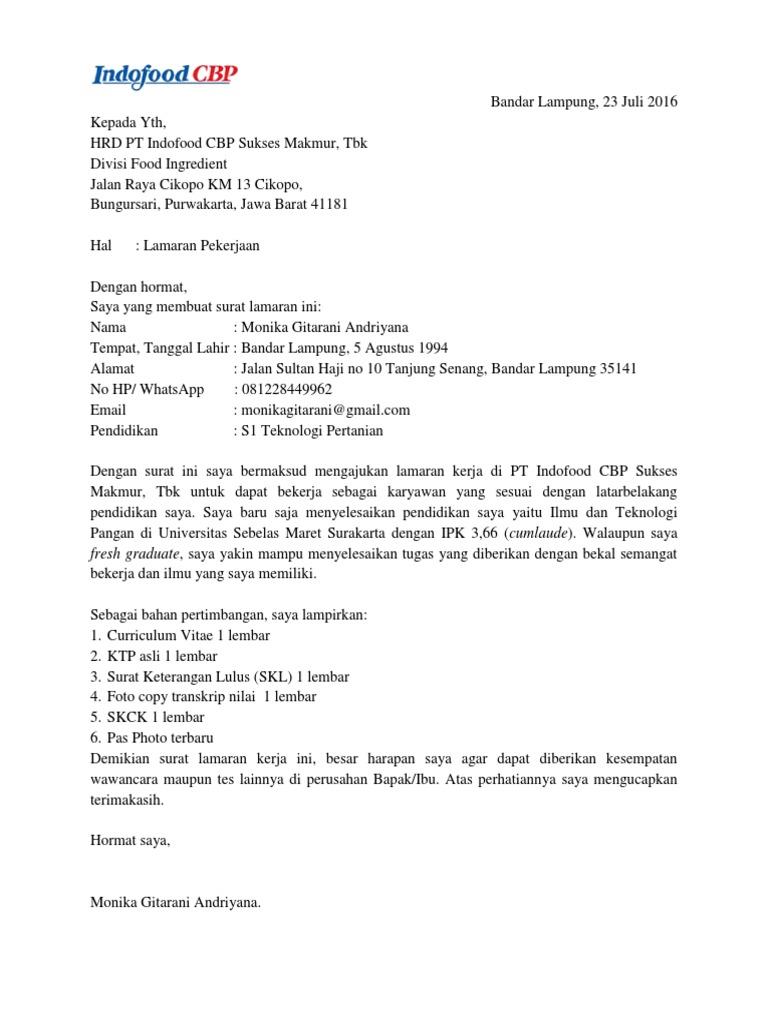 Surat Lamaran Kerja Pt Indofood Cbp 1