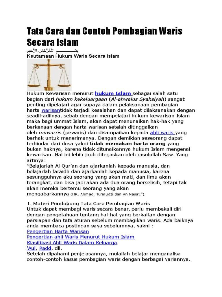 Tata Cara Dan Contoh Pembagian Waris Secara Islam 66bc04fd20