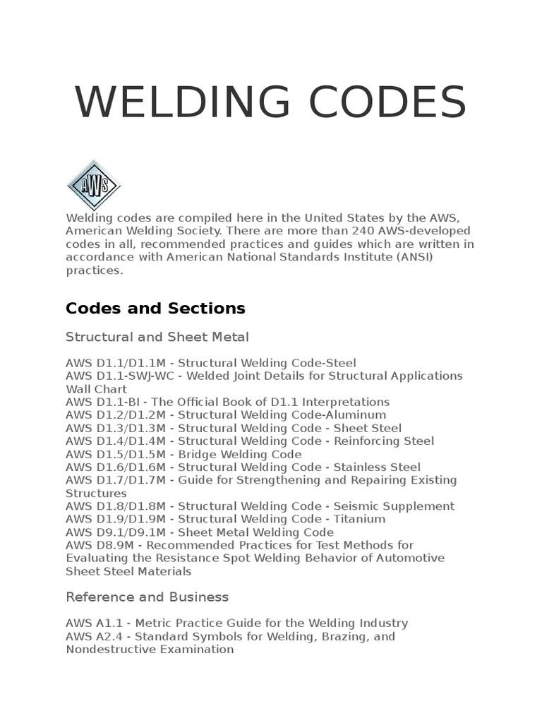 Aws welding codes welding steel buycottarizona