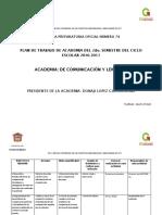 7.- Plan de Trabajo de Academia Del 2do. Semestre del Ciclo Escolar 2016-2017