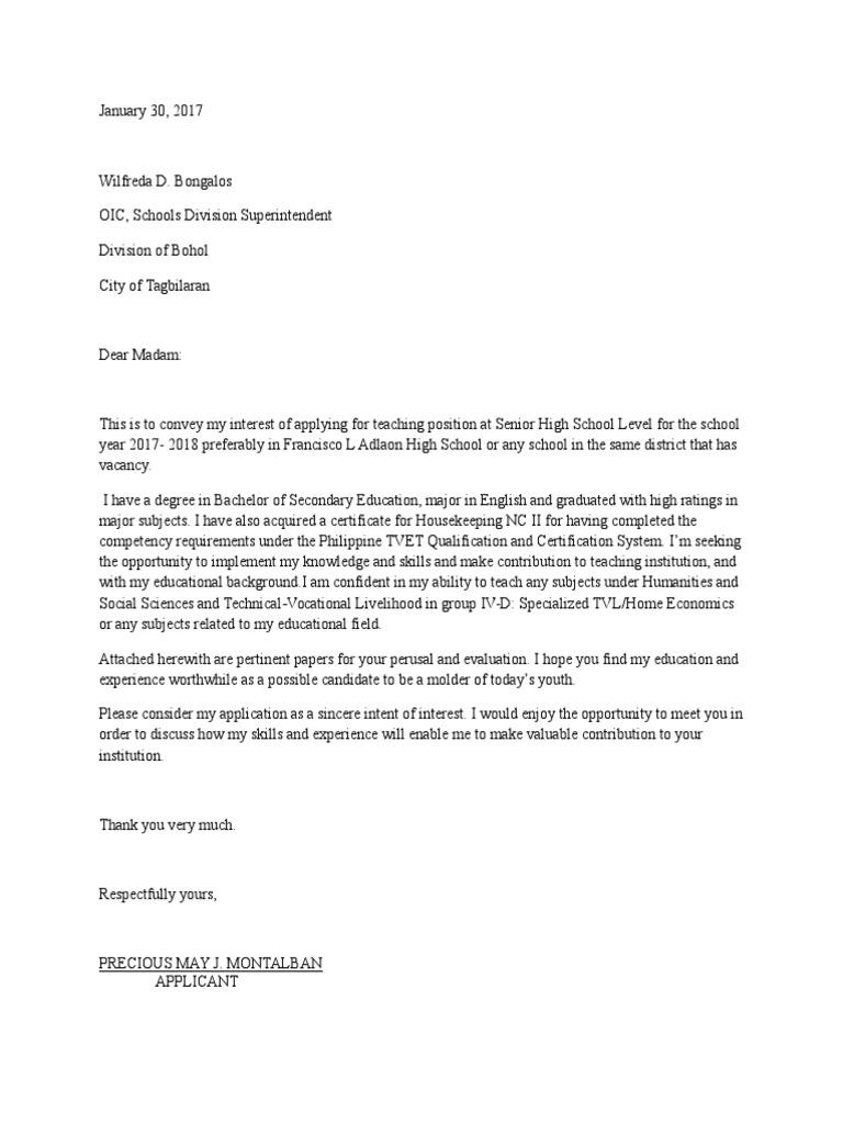 letter of intent for teacher 1 senior high school applicant - Teaching Job Letter Of Interest