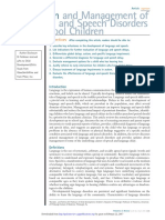 Evaluation and Management of Language and Speech Disorder