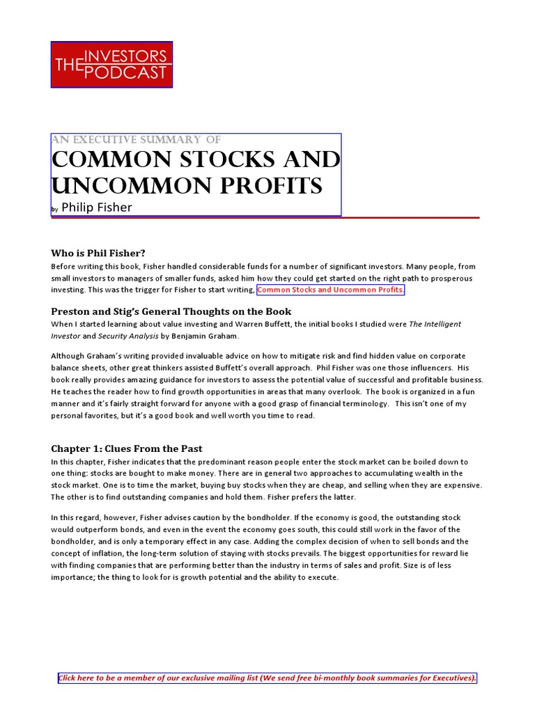 common stocks and uncommon profits dividend investor