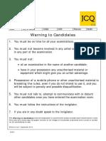 Warning to Candidates 1617