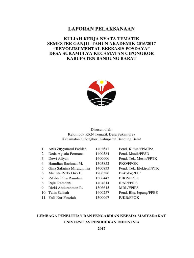Contoh Laporan Kkn Tematik Revolusi Mental Upi 2017 Desa Sukamulya Cipongkor Bandung Barat
