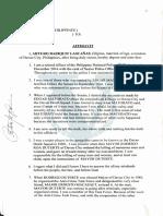 Arturo Lascanas' Affidavit on Davao Death Squad