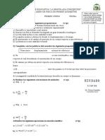 Primero Examen de Física de Segundo Quimestre