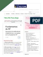 Filtro RC Paso Bajo - Electrónica Unicrom