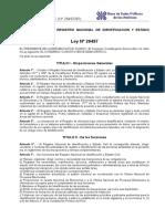 Ley Organica de La Reniec 26497