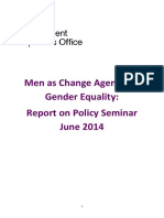 Report on Men as Agents for Change in Gender Equality